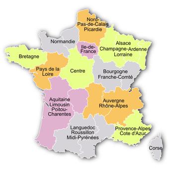 Carte des 13 régions françaises