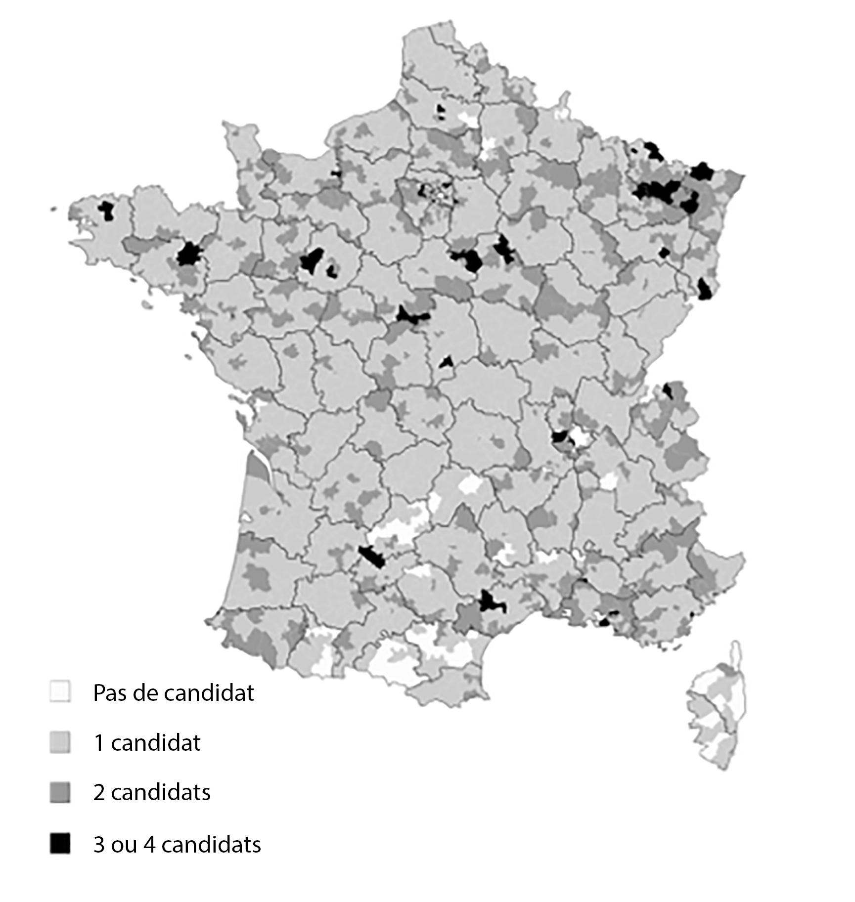 Niveau de fragmentation de la droite aux élections départementales de 2015