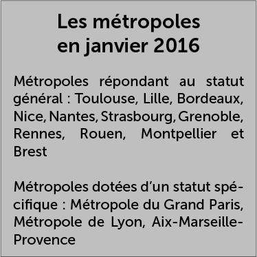 Les métropoles en janvier 2016