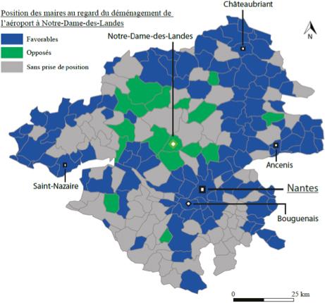 Les prises de position des maires des communes de Loire-Atlantique sur le projet de déménagement de l'aéroport à Notre-Dame-des-Landes
