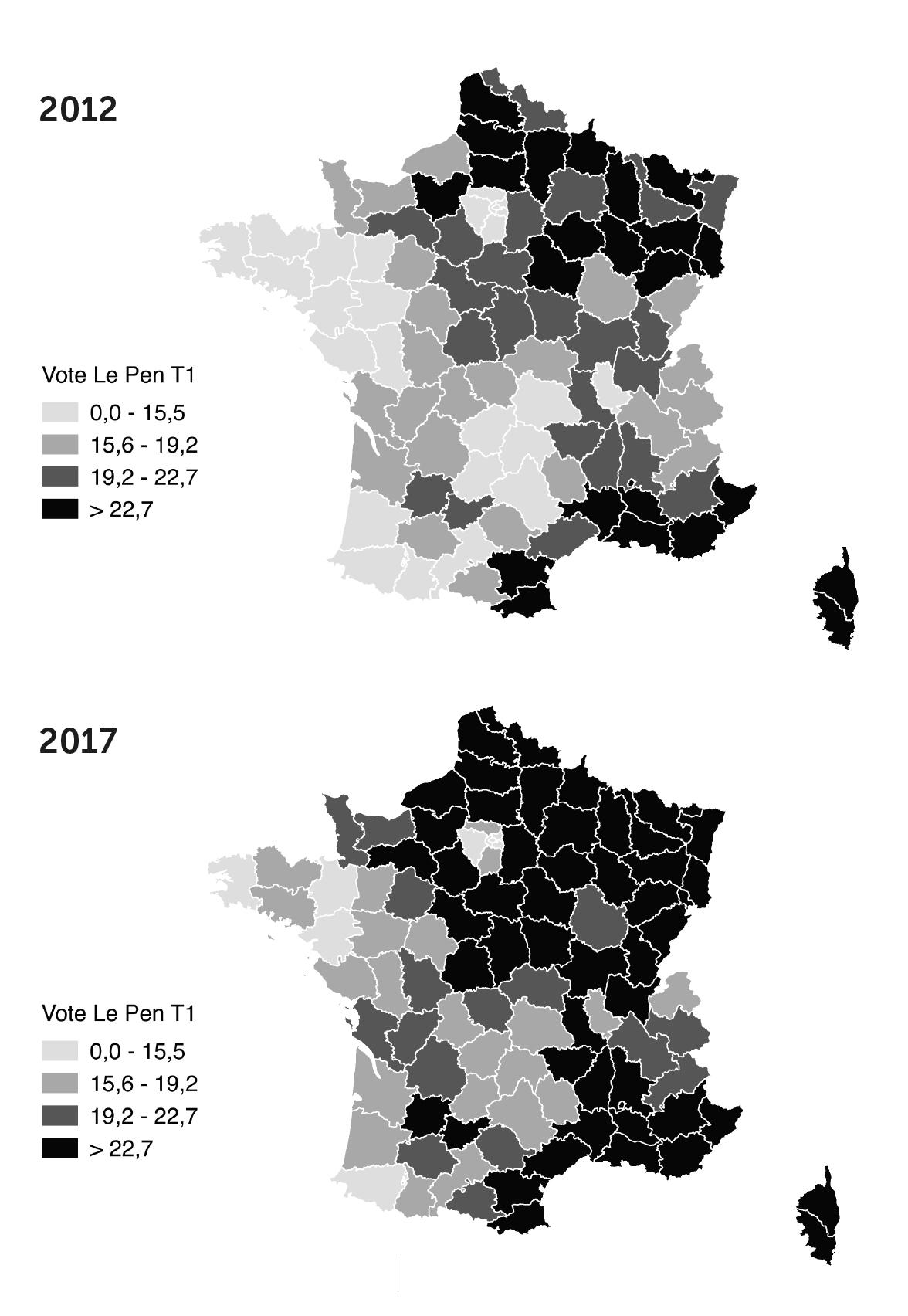 Les votes Le Pen aux premiers tours des présidentielles de 2012 et 2017