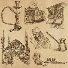 Vieille illustration cafés arabes