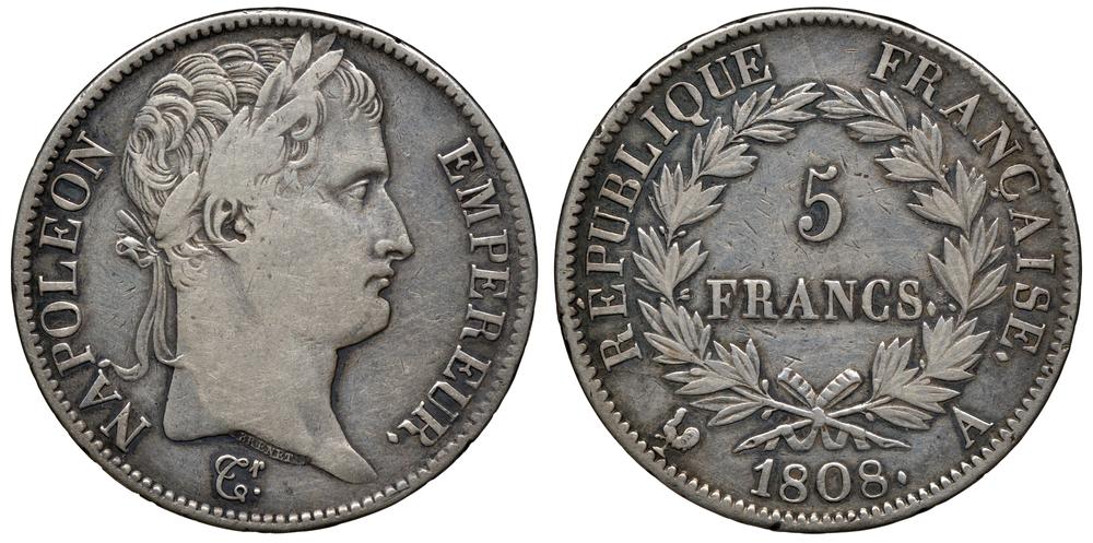 Pièce de 5 francs Napoléon de 1808
